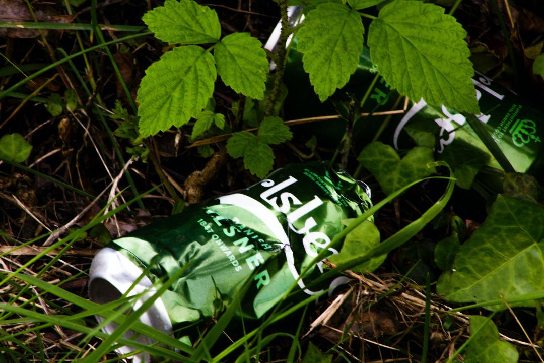 A littered beer can lying in a ditch. Photo by Ella Baxter from Unsplash