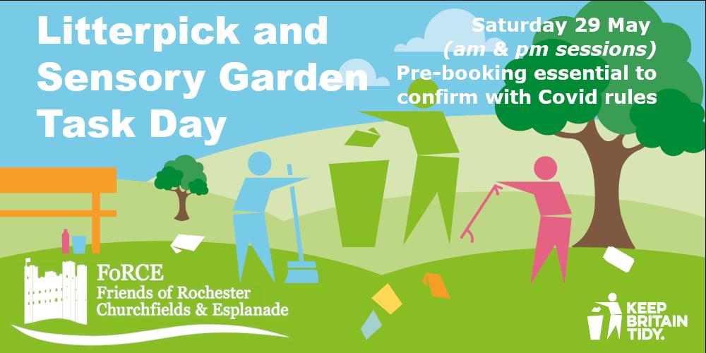 Flyer for Litter pick and Sensory Garden Task Day held by Friends of Rochester Churchfields & Esplanade